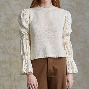 NWT CHAN LUU BRIDGET EYELET COTTON SWEATER